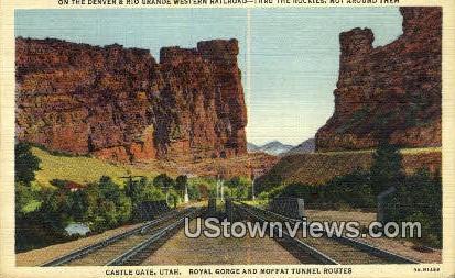 Denver & Rio Grande Western RR - Castle Gate, Utah UT Postcard