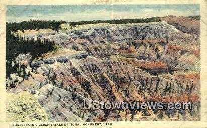 Sunset Point - Cedar Breaks National Monument, Utah UT Postcard