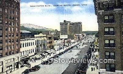 Washington Blvd - Ogden, Utah UT Postcard