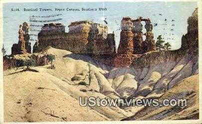 Sentinel Towers - Bryce Canyon, Utah UT Postcard