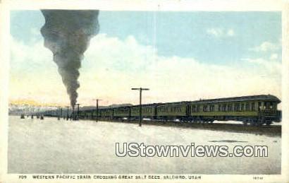 Western Pacific Train, Great Salt Beds - Salduro, Utah UT Postcard