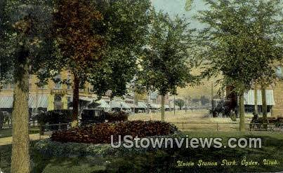 Union Station Park - Ogden, Utah UT Postcard