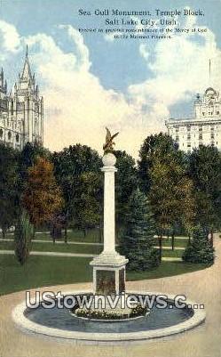 Seagull Monument, Temple Square - Salt Lake City, Utah UT Postcard
