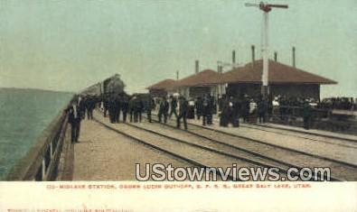 Midlake Station - Great Salt Lake, Utah UT Postcard