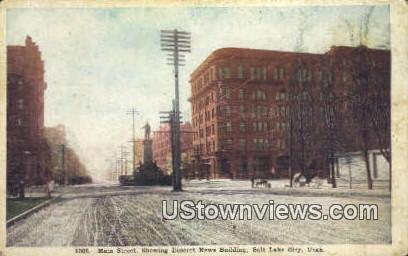 Main Street, Deseret News Bldg - Salt Lake City, Utah UT Postcard