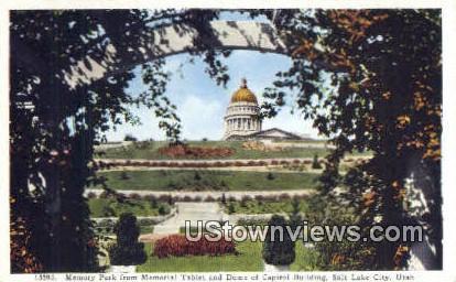 Memory Park, Capitol Bldg - Salt Lake City, Utah UT Postcard
