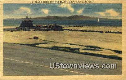 Black Rock Bathing Beach - Great Salt Lake, Utah UT Postcard