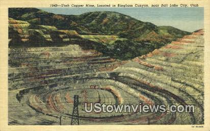 Utah Copper Mine - Salt Lake City Postcard