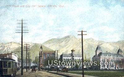 25th Street & City Hall Square - Ogden, Utah UT Postcard