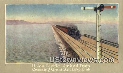 Union Pacific Limited Train - Great Salt Lake, Utah UT Postcard