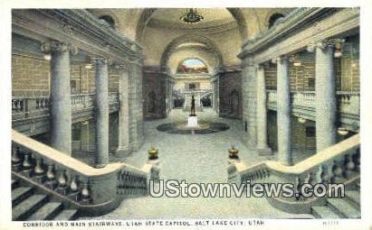 Main Stairways, Utah State Capitol - Salt Lake City Postcard