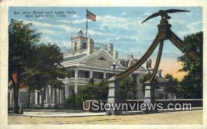 Bee Hive House & Eagle Gate - Salt Lake City, Utah UT Postcard