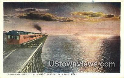 Overland Limited - Great Salt Lake, Utah UT Postcard
