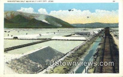 Harvesting Salt - Salt Lake City, Utah UT Postcard