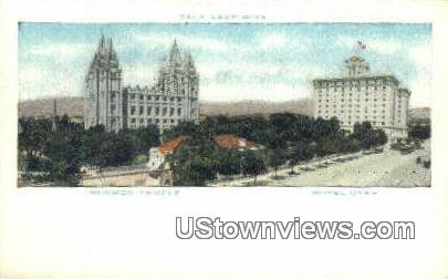 Mormon Temple, Hotel Utah - Salt Lake City Postcard