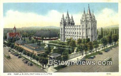 Temple Block - Salt Lake City, Utah UT Postcard