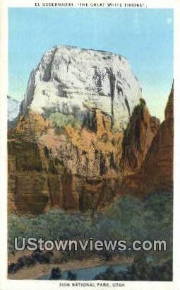 The Great White Throne - Zion National Park, Utah UT Postcard