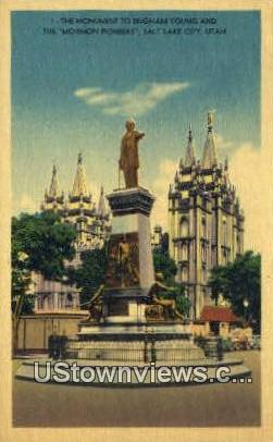 Monument to Brigham Young - Salt Lake City, Utah UT Postcard