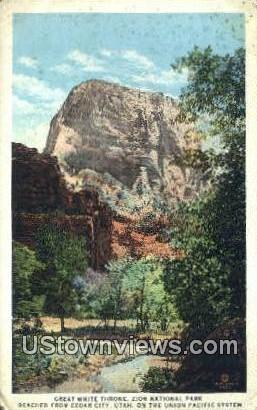 Great White Throne - Zion National Park, Utah UT Postcard