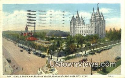 Brigham Young Monument - Salt Lake City, Utah UT Postcard