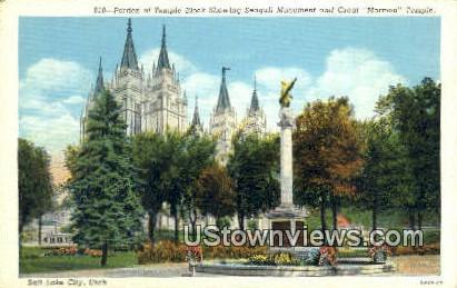 Temple Block, Seagull Monument - Salt Lake City, Utah UT Postcard
