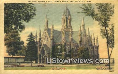 Assembly Hall, Temple Block - Salt Lake City, Utah UT Postcard