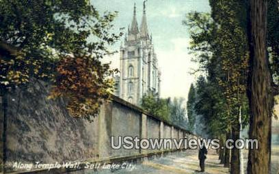 Temple Wall - Salt Lake City, Utah UT Postcard