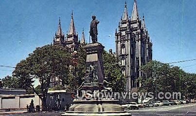 Brigham Young Monument - Salt Lake City, Utah UT Postcard