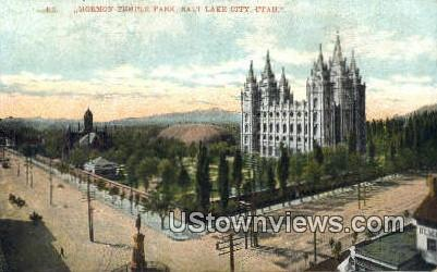 Mormon Temple Park - Salt Lake City, Utah UT Postcard