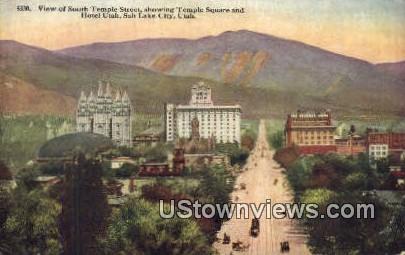 Temple Street, Hotel Utah - Salt Lake City Postcard