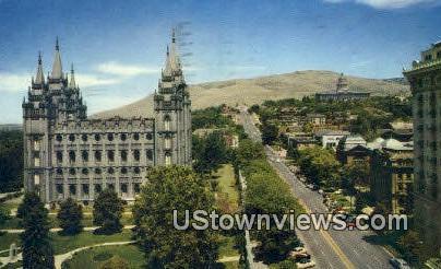 North main Street, Mormon Temple - Salt Lake City, Utah UT Postcard