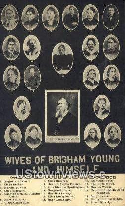 Wives of Brigham Young & Himself - Salt Lake City, Utah UT Postcard