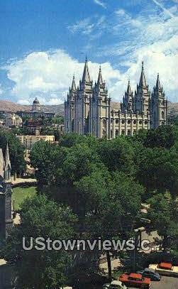 Temple Square & State Capitol - Salt Lake City, Utah UT Postcard