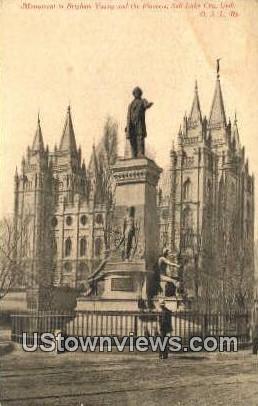 Brigham Young & Pioneers - Salt Lake City, Utah UT Postcard