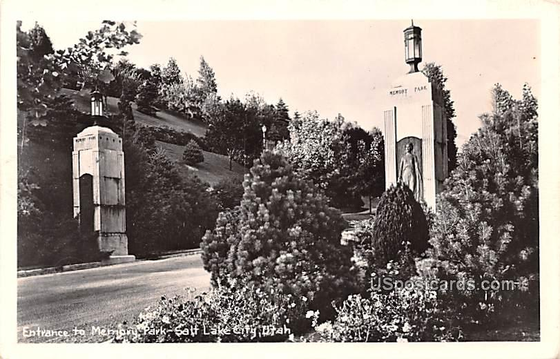 Entrance to Memory Park - Salt Lake City, Utah UT Postcard