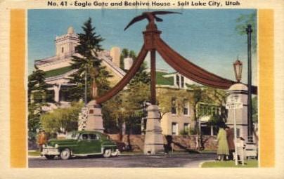 Eagle Gate and Beehive House - Salt Lake City, Utah UT Postcard