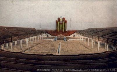 Interior of Great Mormon Tabernacle - Salt Lake City, Utah UT Postcard