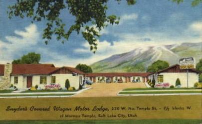 Snyder's Covered Wagon Motor Lodge - Salt Lake City, Utah UT Postcard