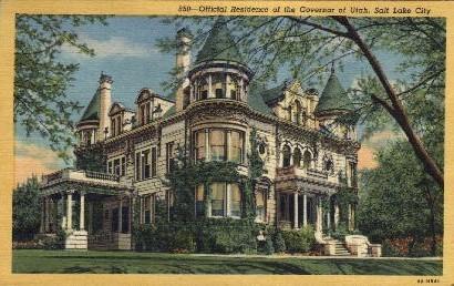Official Residence of Governor of Utah - Salt Lake City Postcard