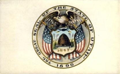 Utah State Seal, Utah Postcard      ;      Utah State Seal, UT - Utah State Seal Postcards