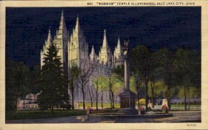 Mormon Temple Illuminated - Salt Lake City, Utah UT Postcard
