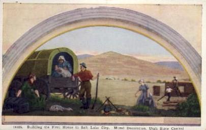 Building the First House in Salt Lake City - Utah UT Postcard