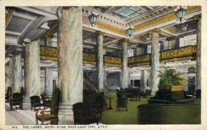 The Hotel Utah Lobby - Salt Lake City Postcard