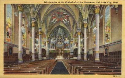 Interior of the Cathedral of the Madeleine - Salt Lake City, Utah UT Postcard