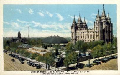 Mormon Temple and Tabernacle - Salt Lake City, Utah UT Postcard