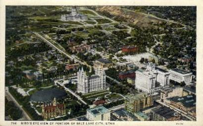 Bird's Eye View - Salt Lake City, Utah UT Postcard