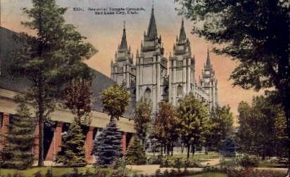 Beautiful Temple Grounds - Salt Lake City, Utah UT Postcard