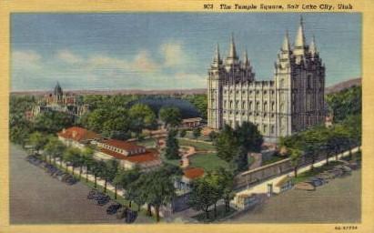 The Temple Square - Salt Lake City, Utah UT Postcard