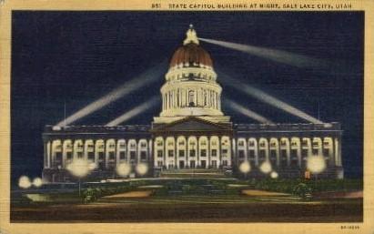 State Capitol Building at Night - Salt Lake City, Utah UT Postcard