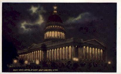 State Capitol at Night - Salt Lake City, Utah UT Postcard